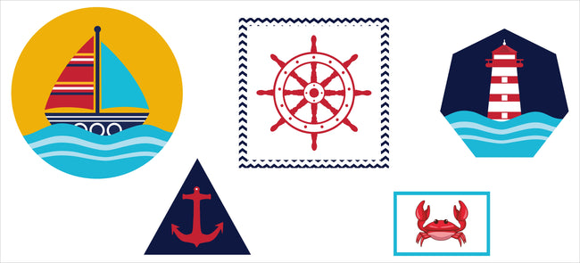 Nautical-Ahoy Cutout  Pack for Birthday decoration - Pack of 5