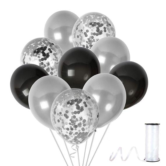 Metallic Silver and Black Balloons and 12 Inch Silver Confetti Balloon(with ribbon) - Pack of 40 Baby Arrival,  Birthday Party Wedding Bridal Shower Party Decoration
