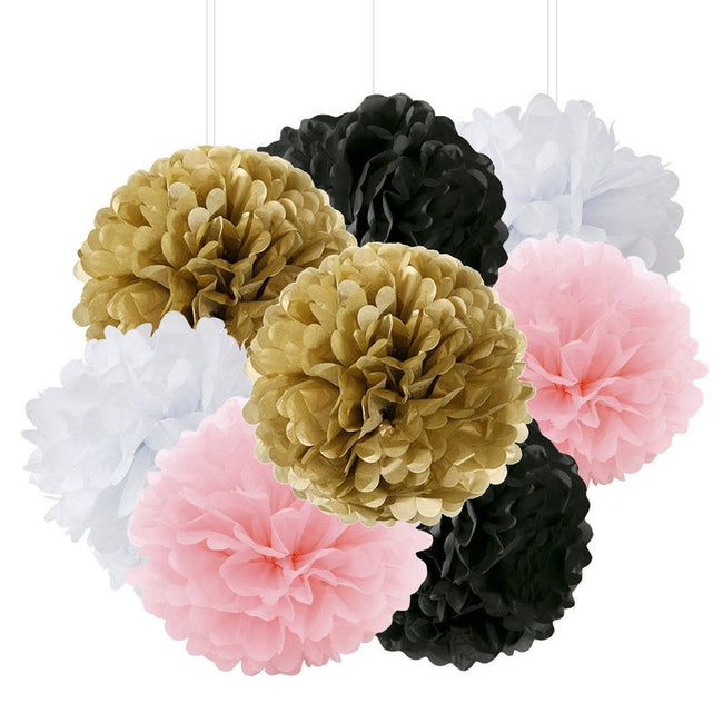Pink, White, Golden and Black  Pom Pom flower Decoration -Anniversary parties & Milestone birthday