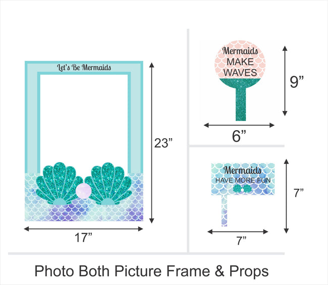 """LITTLE MERMAID""-GIRLS BIRTHDAY SELFIE PHOTO BOOTH FRAME AND PROPS"