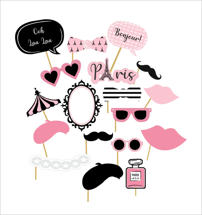 """Oh La La - It's Paris"" 20 Piece Birthday Party Photo Booth Props Kit"