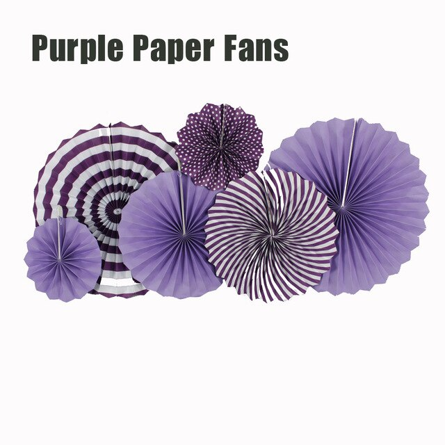 Paper Fans for Decoration Birthday Party Trend Party Fan for Wedding Birthday Showers - Purple and White (Pack of 6)