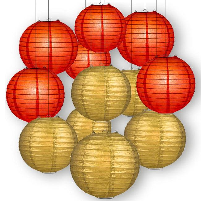 "Red and Golden Paper Lanterns -12""inch GREAT FOR BIRTHDAY PARTIES OR FESTIVALS"