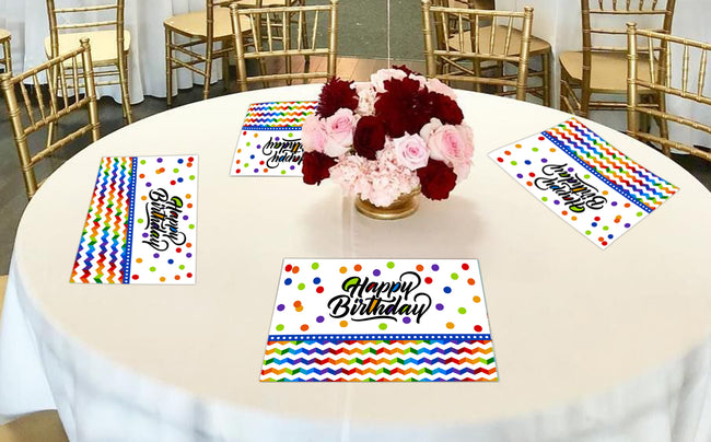 Joyful Birthday Themed Table Place-mats - Pack of 6