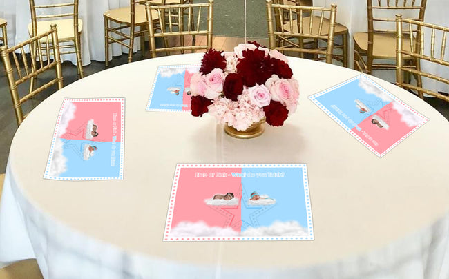 """Pink Or Blue""  Themed Table Placemats for baby shower, theme parties - Pack of 6"