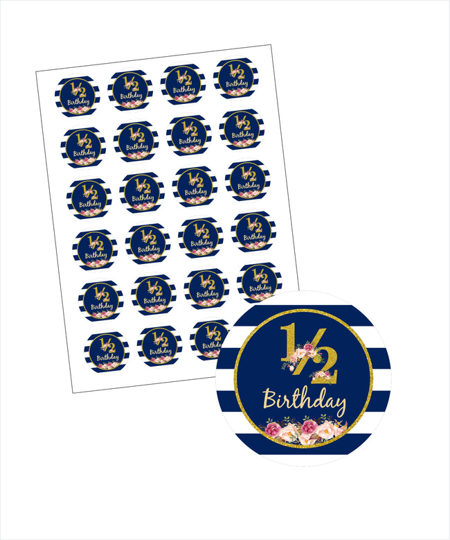 """1/2 Birthday"" - Birthday Party Favor Gift Tags (Pack of 20)"