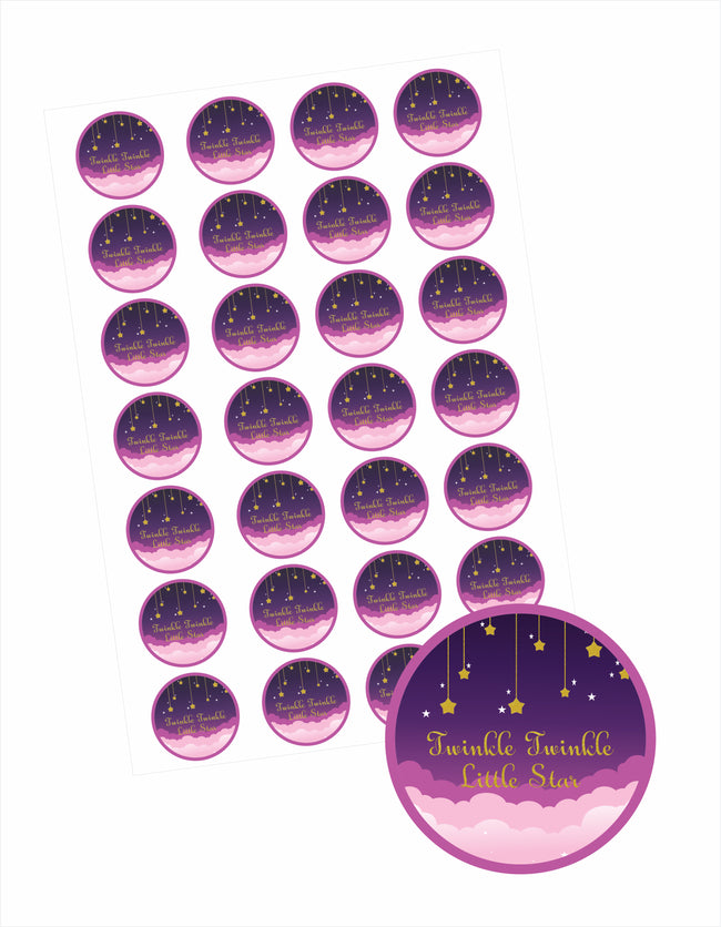 """Twinkle Twinkle Little Star"" - Girl   Birthday Party Favour Gift Tags (Pack of 20)"