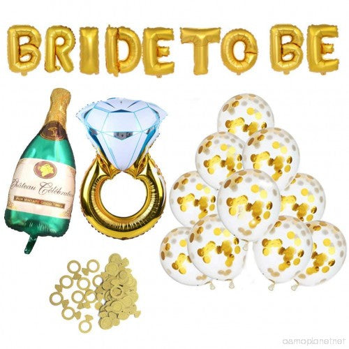 Bachelor Party Decorations Kit - Bridal Shower Decorations Supplies - Bride to Be Balloon, Champagne Bottle Balloon,  Ring Foil, Confetti Balloons