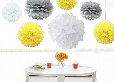White Yellow and Silver-Boys Birthday Parties ,Baby Shower,Bee Party Decorations