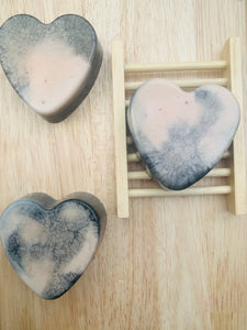 Rose Geranium & Charcoal Love Heart Soap 100g