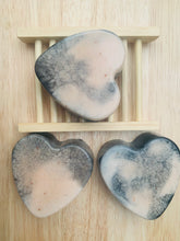 Load image into Gallery viewer, Rose Geranium & Charcoal Love Heart Soap 100g