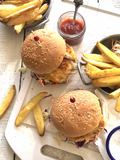 35 Minute Crispy Chicken Burgers with Oven Fries and Slaw