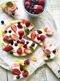 "Watermelon ""Pizza"" with Marshmallow Tangy Topping"