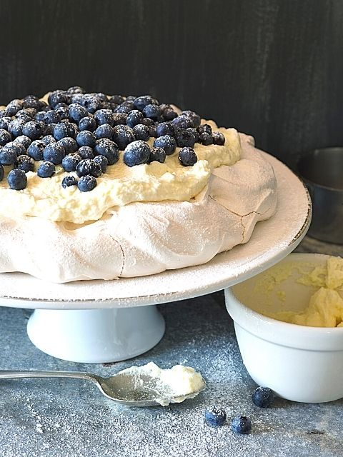 Pavlova with Lemon Cream and Blueberries