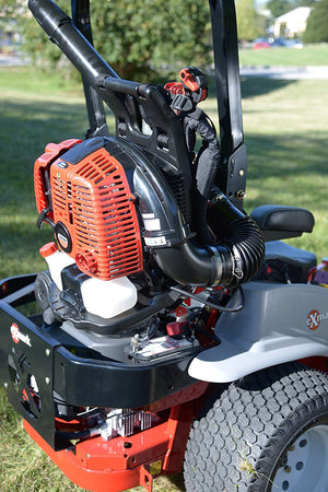 Backpack Blower Holder Rack - Secures backpack to Commercial Mowers