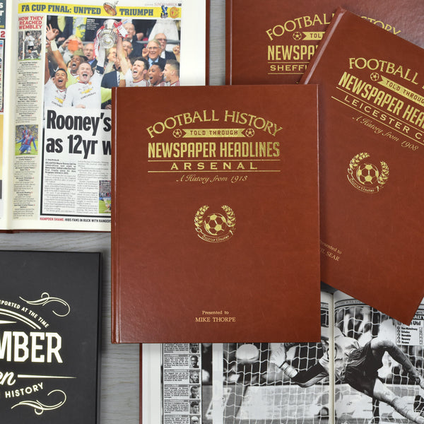 Football Newspaper Book - A3 Leatherette With Colour Pages - Gift Book