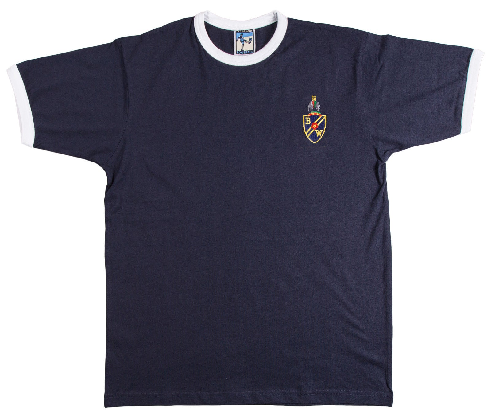 Bolton Wanderers Retro 1950s / 1960s Football T-Shirt Navy Blue - T-shirt