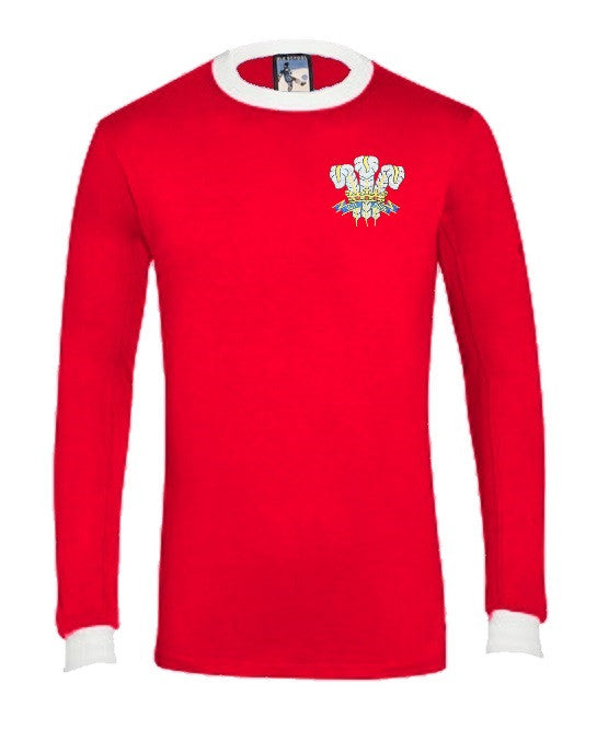 Wales Rugby Retro T Shirt 1970s Long Sleeve - T-shirt