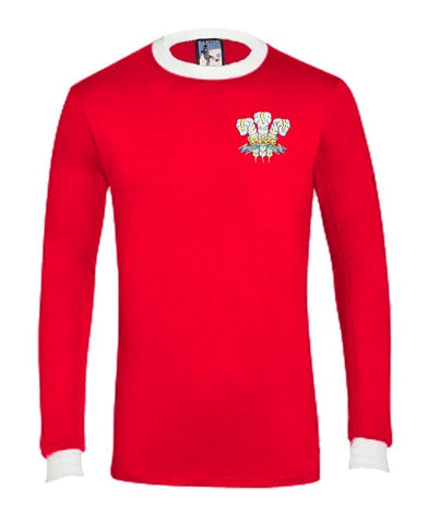 Wales 1970's National Rugby Long Sleeve T-shirt Embroidered Logo Sizes S-XXXL - Old School Football