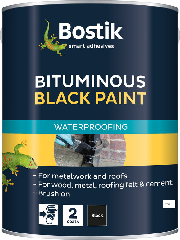 BOSTIK WATERPROOF BLACK PAINT 2.5LTR