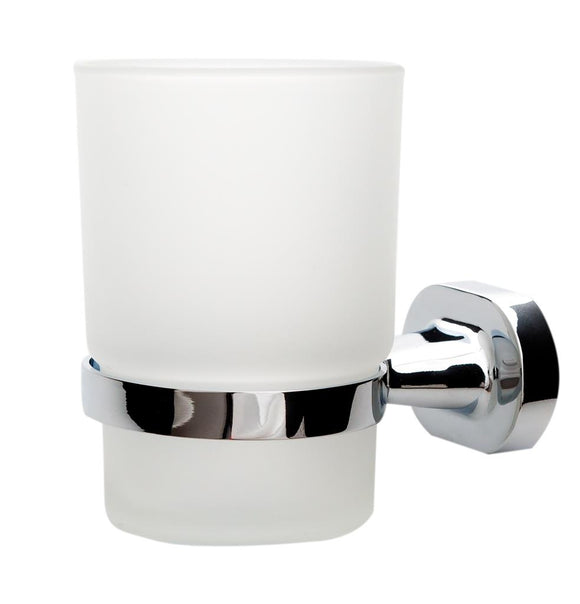 TEMA SOFIA TUMBLER HOLDER CHROME w FROSTED GLASS