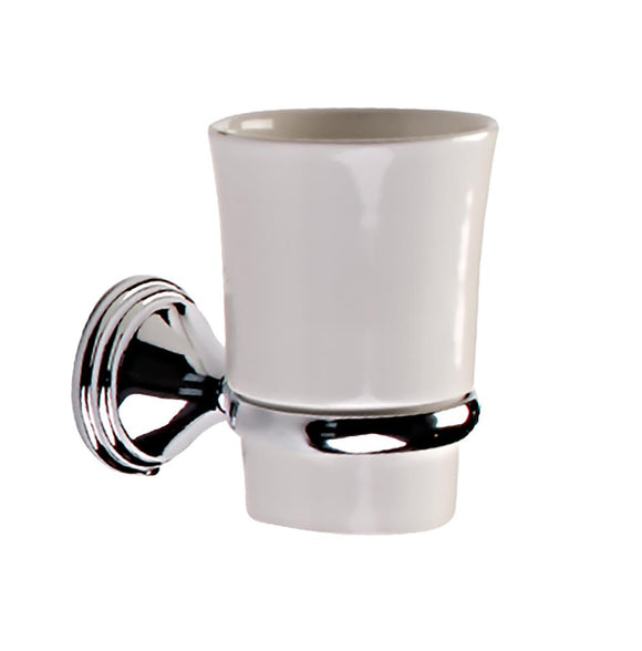 TEMA ARNO TUMBLER HOLDER CHROME w CERAMIC TUMBLER