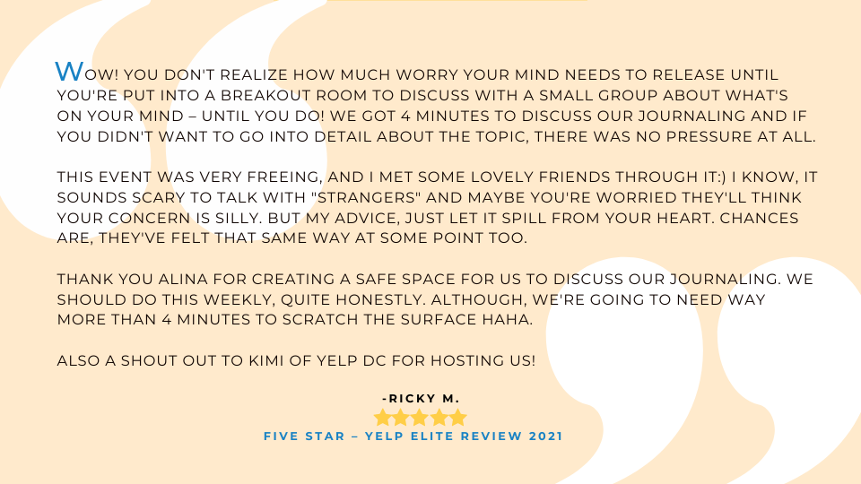 5 star testimonial from a Yelp elite member who love the journaling mini-retreats.