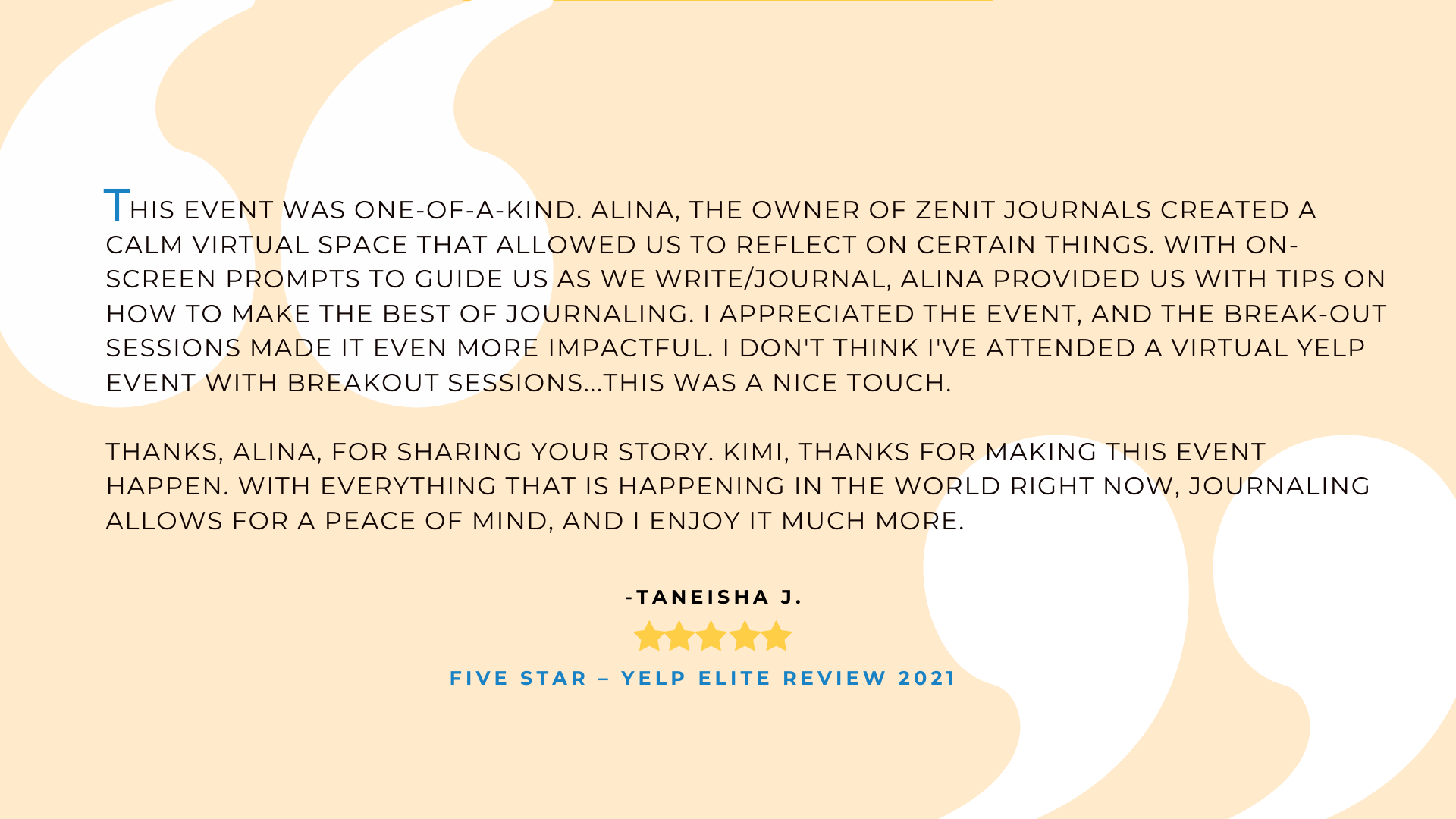 Five star yelp elite quote about Zenit Retreats