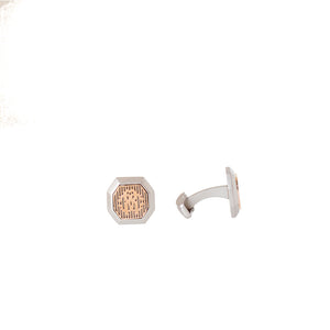 Roberto Cavalli Cufflinks Matte Silver Color With Ip Rosegold Mid Logo