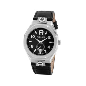 Aigner Ferrara Men's Watch Silver Case with Black Dial