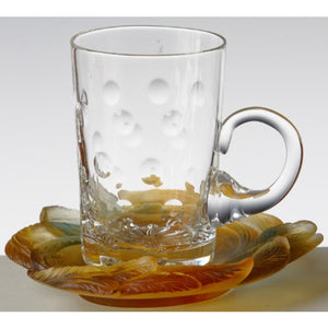 Cristal De Paris Molten Glass saucers - Feuille Amber
