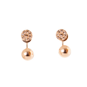 Fossil Earrings Zircon Rose Ip Gold