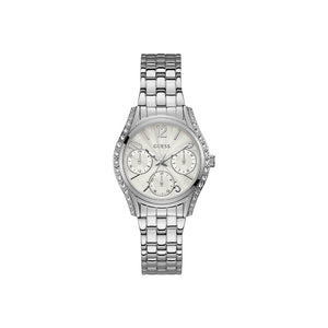 Guess Ladies Stainless Steel Watch With White Dial & Crystal