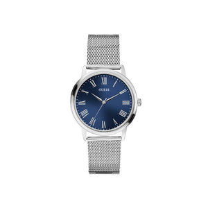 Guess Stainless Steel Men'S Watch With Sun Blue Dial