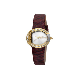 Just Cavalli Ladies Watch Silver/Gold Color Case With Red Leather Strap