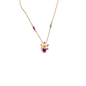 Les Nereides Tropical Flower Carved Crystal And Crystals Long Necklace