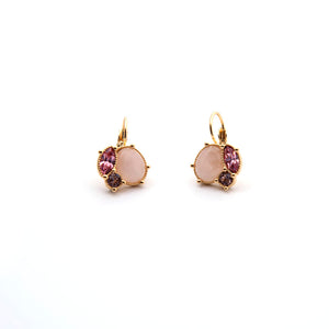 Les Nereide Quartz And Pink Rhinestone Dormeuses Earrings