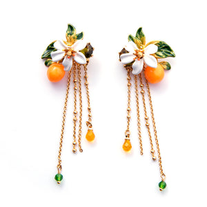 Les Nereides Orange Orange Blossom And Chains Stud Earrings