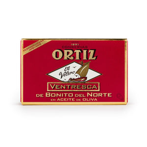 Conservas Ortiz White Tuna Belly meat in olive oil packed in a 110g
