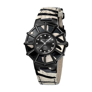 Roberto Cavalli Ladies Watch Animal Printed Leather Strap With Black Dial & Diamond