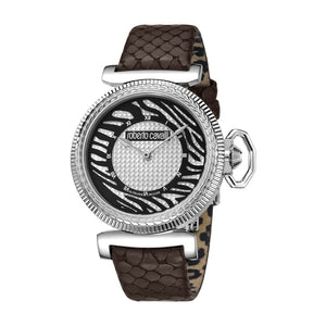 Roberto Cavalli Ladies Watch Black Animal Printed Dial With Dark Brown Leather Strap