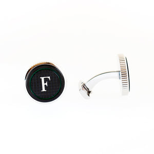 Ferre Milano Cufflinks Silver Color & Black Face With Logo