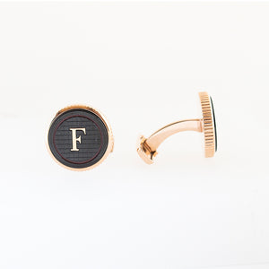 Ferre Milano Cufflinks Ip Rose Gold With Black Face