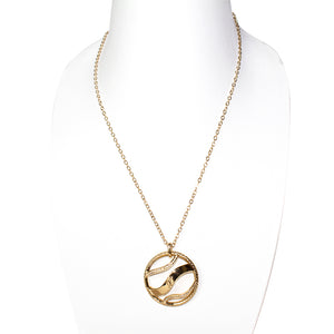 Ferre Milano Accessory Necklace Ip Gold Long Chain Round Pendant With Stone