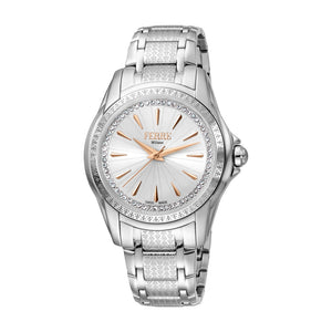 Ferre Milano Ladies Watch Stainless Steel Case & Bracelet With White Dial