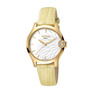 Ferre Milano Ladies Watch Golden Color Case & White Dial With Beige Leather Strap