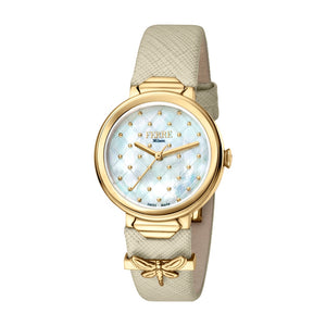 Ferre Milano Ladies Watch Mother Of Pearl Dial With Beige Leather Strap