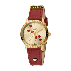 Ferre Minao Ladies Watch Mother Of Pearl Heart Design On The Dial With Red Leather Strap