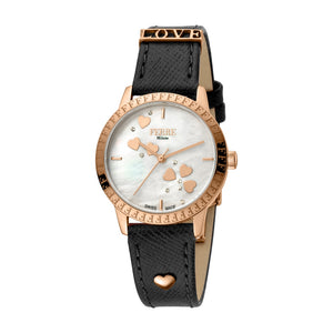 Ferre Milano Ladies Watch Mother Of Pearl Heart Design On The Dial With Black Leather Strap
