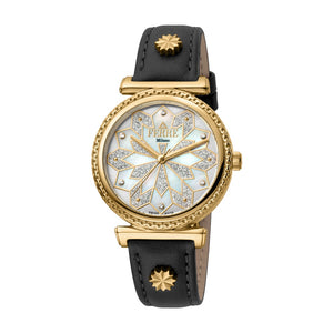 Ferre Milano Ladies Watch With Black Leather Strap
